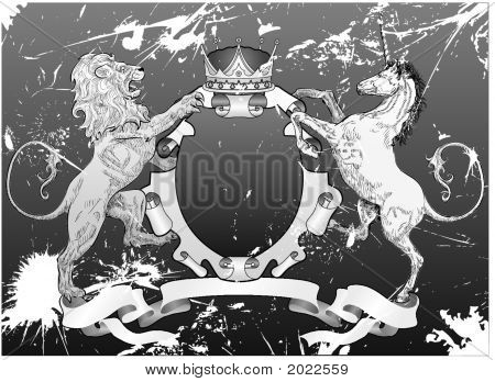 Grunge Lion And Unicorn Shield