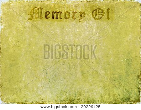 "lovely background image with with the words ""memory of"". very useful design element."