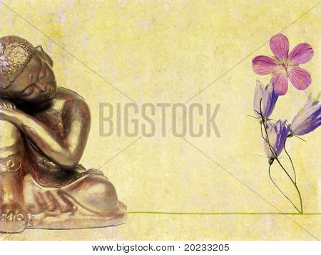 lovely background image with buddha statue and flora. useful design element.