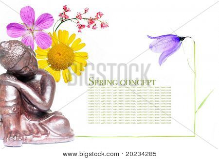 peaceful buddha and spring flora