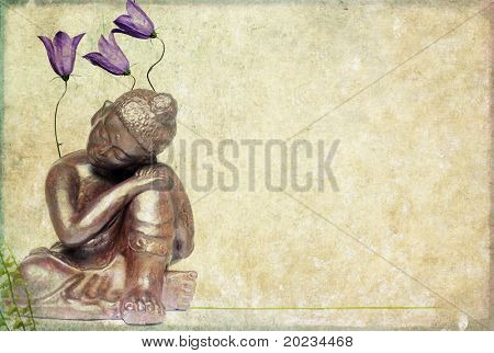 buddha and flora background image with plenty of space for text