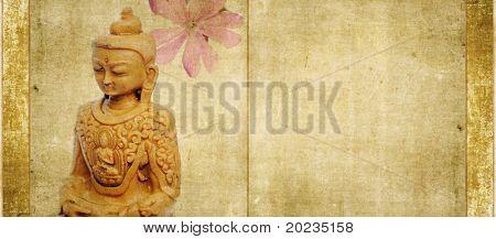 buddha and spring flora