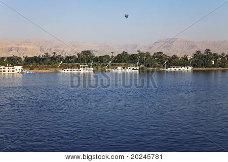 balloon and boats on the Nile