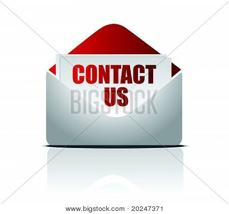letter with Contact us card, isolated on white