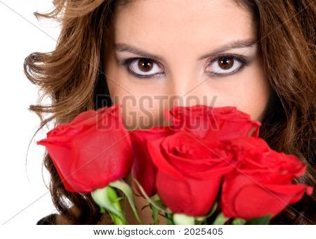 Fashion Girl With Roses