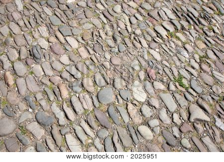 Close Up Of An Old Cobblestone Street In Hay-On-Wye.