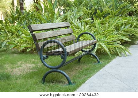 A old wooden bench in the park