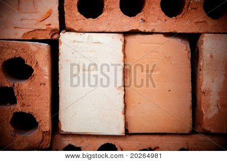Chinese writing on the brick,the letter on the brick spell 'ji',means lucky or pleasure in Chinese, this letter also can  represent a sign for name of worker or workshop in  Chinese ancient times.