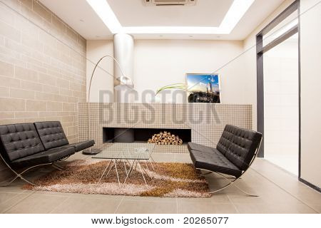 Modern livingroom with chairs and table