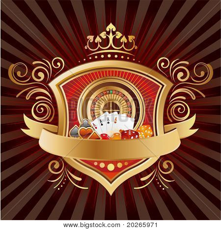casino elements,shield,crown,black background