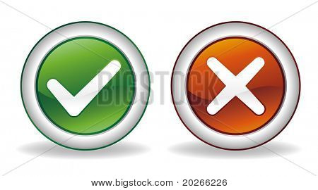 vector ok and cancel button set