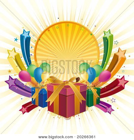 gift box,balloon,star,celebration background