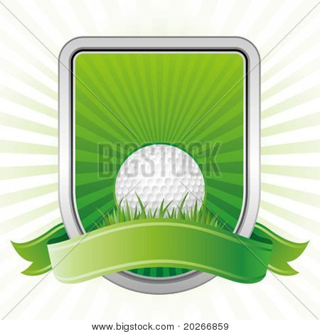 golf,shield,green background