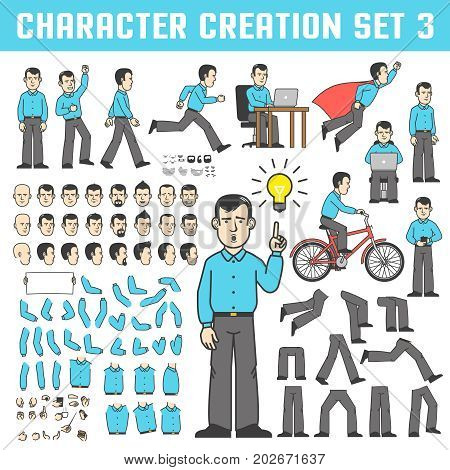 A man in a shirt and trousers in various poses. The office worker stands runs goes rejoices rides a bicycle flies like a superhero. A set of body parts and faces to create a character.