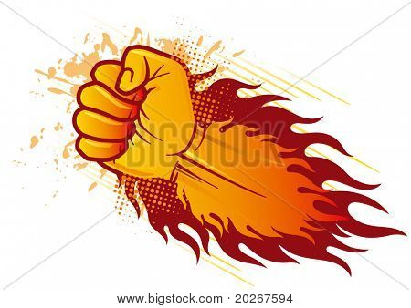 vector clenched fist and flame