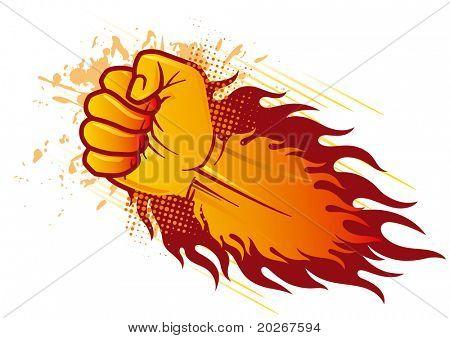 Vektor geballte Faust und Flamme