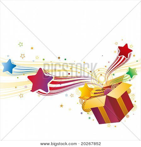gift box and star,vector celebration background