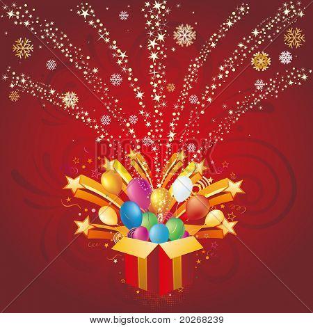 caja de regalo y estrella, Fondo de celebración de Navidad