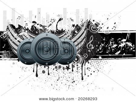 vector illustration of musical theme with loudspeakers
