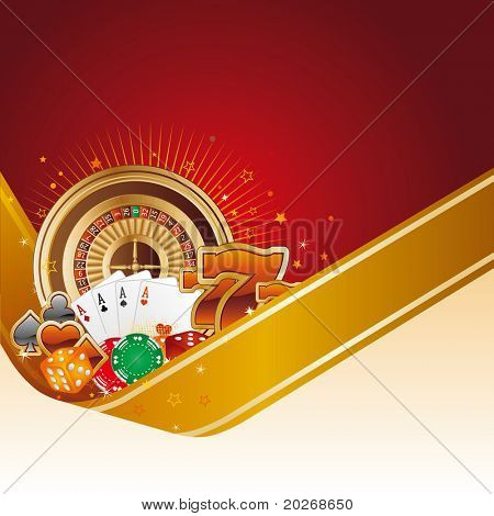 casino design element with gold ribbon