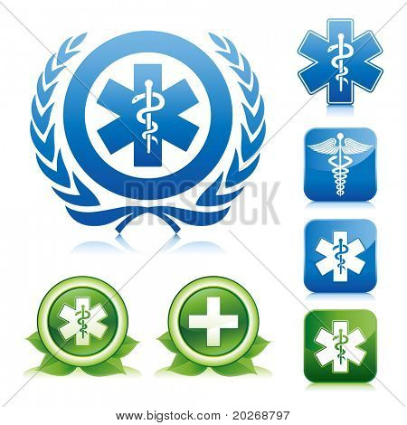 medical icons on various glossy button