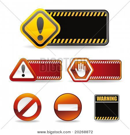 set of warning sign