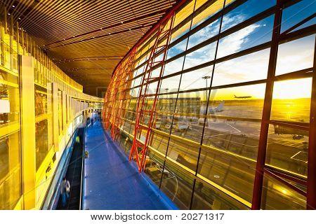 scene of the beijin ariport, interior of the airport lounge.