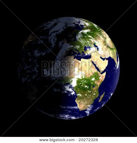 Real looking Earth planet. Day & night, clouded. Globe is accurate and right, like in reality.