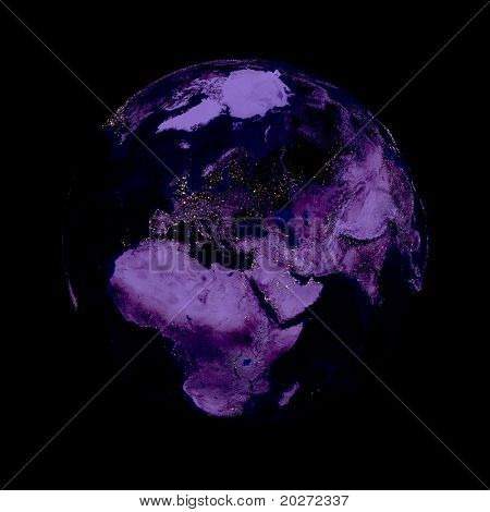 Earth planet. Europe in the center, night, lights of cities. Globe is accurate like in reality.
