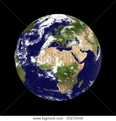 Earth planet. Europe & Africa in the center, clouded. Globe is accurate, like in reality.