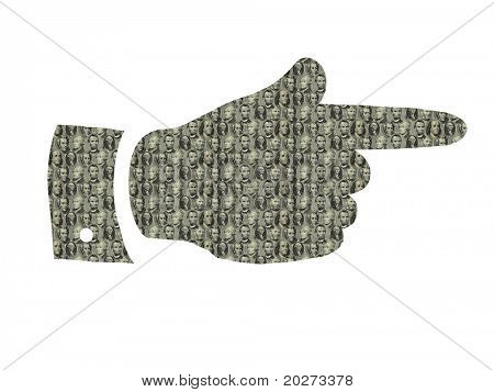 Pointing finger icon textured with USA dollars presidents portraits. Isolated on the white
