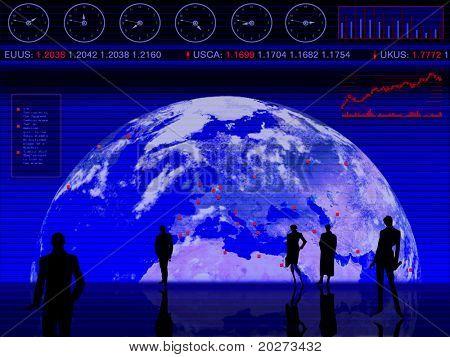Projeto conceitual: negócios, negociação, global, ações de mercado,