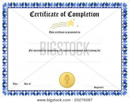 Formulario de certificado de premio en blanco