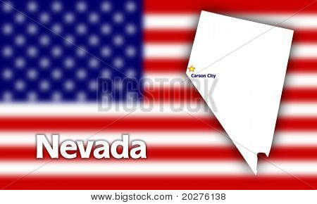 Nevada state contour with Capital City against blurred USA flag