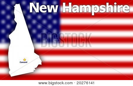 New Hampshire state contour with Capital City against blurred USA flag