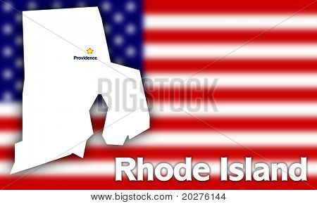 Rhode Island state contour with Capital City against blurred USA flag