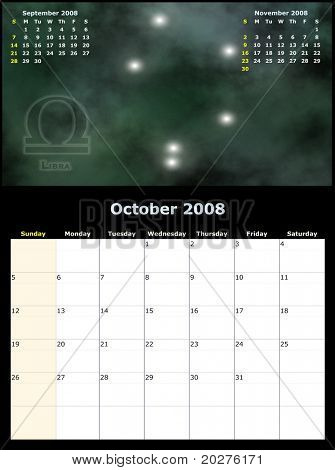 2008 Year Monthly calendar with Zodiac sign, previous and next months