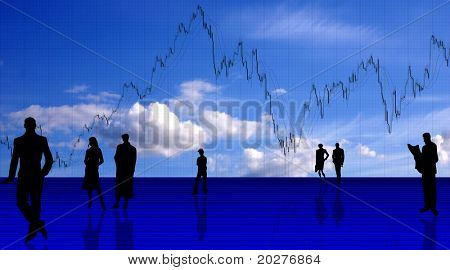 Chart background with people silhouettes against blue sky