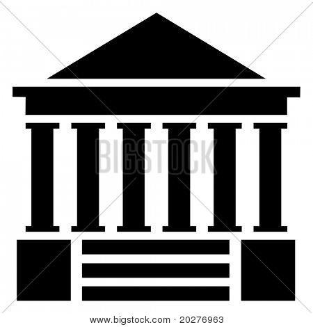 Courthouse illustration, isolated against white background