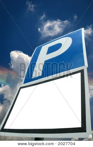 Parking With Blank White Sign And Sky Background
