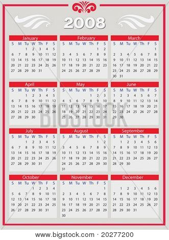 2008 Year calendar, vertical. Vector format. The text has been converted to paths, so no fonts are required.