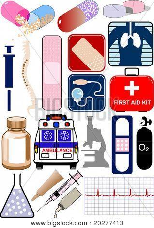 Medizinische Vektorobjekte, Symbole und logos