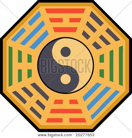 Vektor-Yin und Yang und Bagua illustration