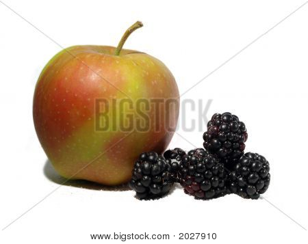 Blackberries And Apple Isolated On White