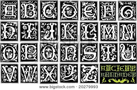 16th century engraved ornamental alphabet