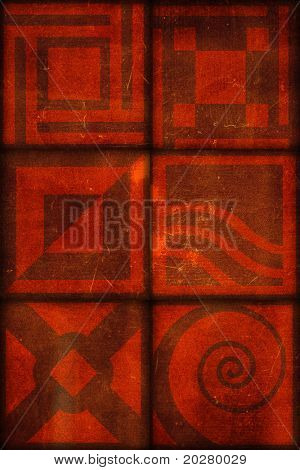 Abstract ornamental  illustration. Grunge, aged version, grainy background.
