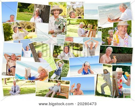 Elderly people relaxing alone outdoors