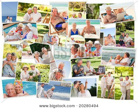 Collage of senior couples spending time together outdoors