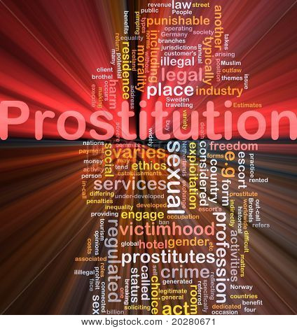 Background concept wordcloud illustration of prostitution glowing light