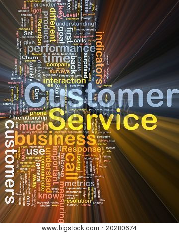 Background concept wordcloud illustration of customer service glowing light